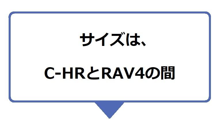 カローラクロスのサイズは、C-HRとRAV4の間